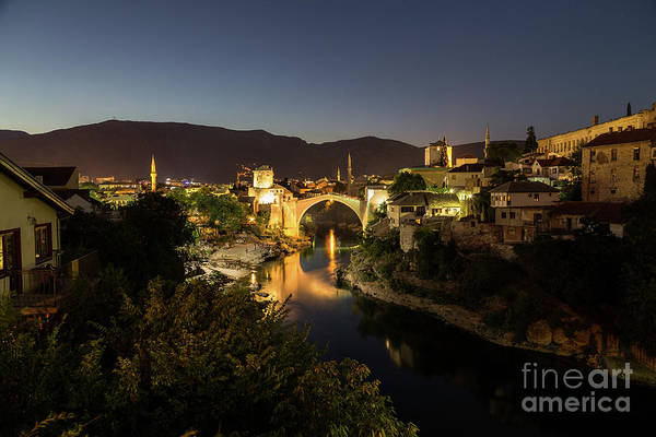Mostar Skyline At Night Poster