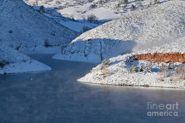 Mountain Lake In Winter Poster