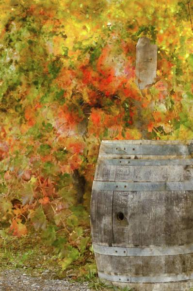 Wine Barrel In Autumn Poster