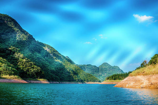 The Mountains And Reservoir Scenery With Blue Sky Poster