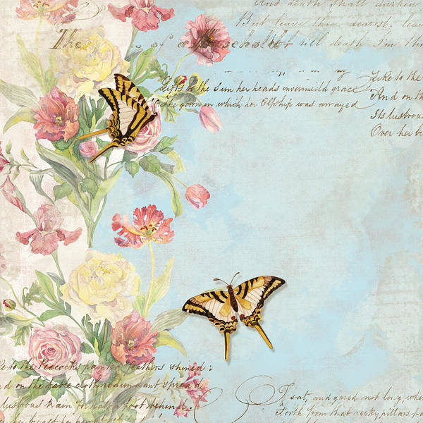 Fleurs De Pivoine - Watercolor W Butterflies In A French Vintage Wallpaper Style Poster