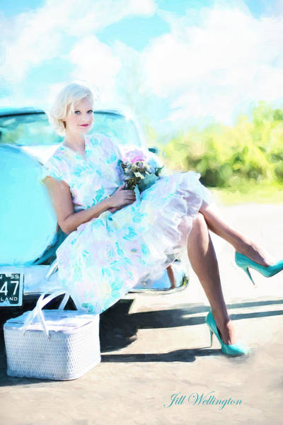 Vintage Val In The Turquoise Vintage Car Poster