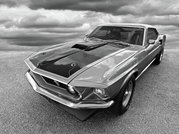 428 Cobra Jet Mach1 Ford Mustang 1969 In Black And White Poster