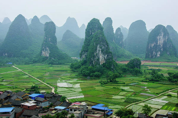 The Beautiful Karst Rural Scenery In Spring Poster