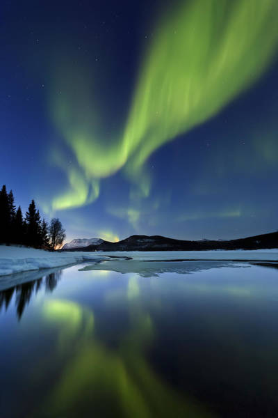 Aurora Borealis Over Sandvannet Lake Poster
