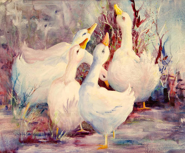 5 White Geese Poster