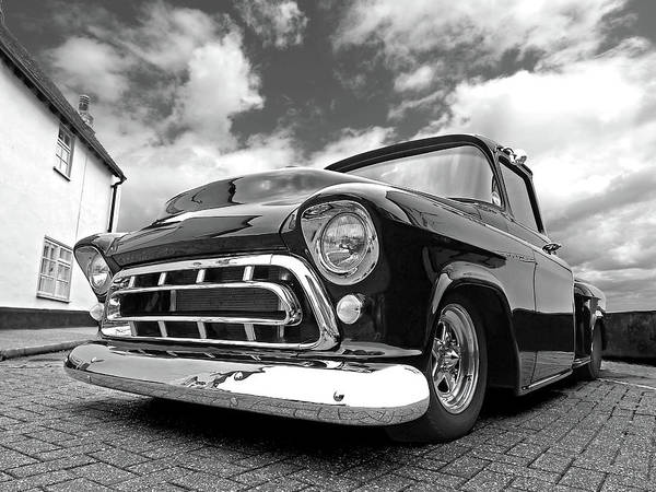 57 Stepside Chevy In Black And White Poster