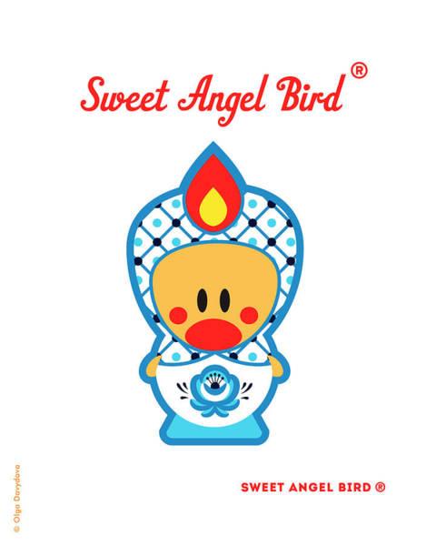 Cute Art - Blue And White Flower Folk Art Sweet Angel Bird In A Matryoshka Costume Wall Art Print Poster