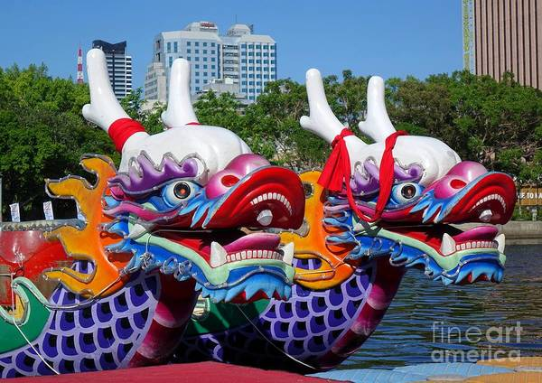 Traditional Dragon Boats In Taiwan Poster