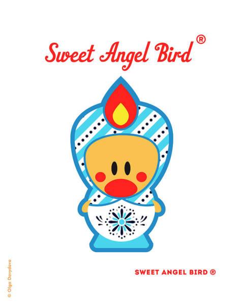 Cute Art - Blue And White Snowflake Folk Art Sweet Angel Bird In A Matryoshka Costume Wall Art Print Poster