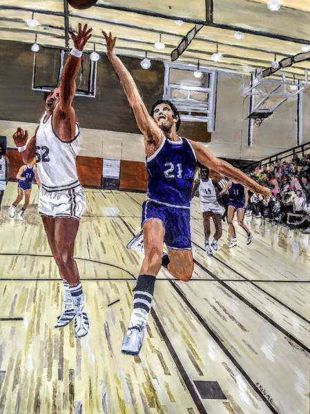 Poster featuring the painting 70's Layup by Kevin Daly