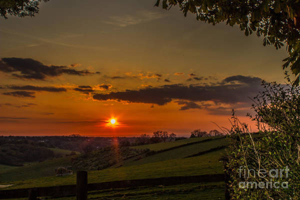 A Beautiful Sunset Over The Surrey Hills Poster