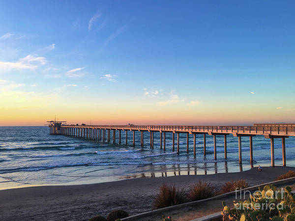 A Long Look At Scripps Pier At Sunset Poster