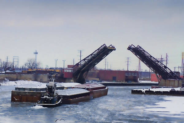 A Tug Boat Pushing A Barge Out To The Lake Poster