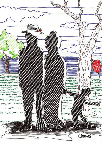 Poster featuring the drawing A Walk In The Park by Teddy Campagna