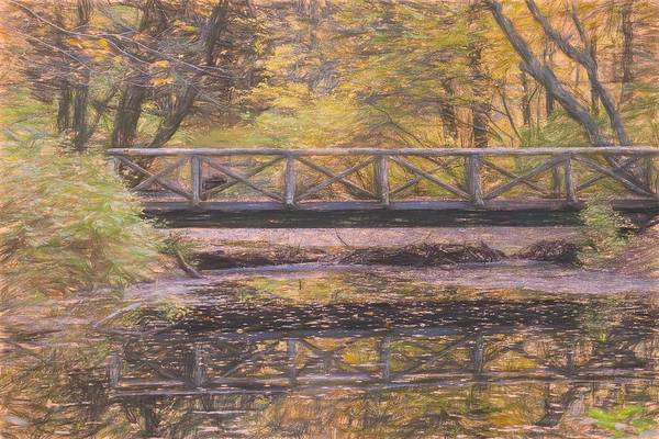A Walking Bridge Reflection On Peaceful Flowing Water. Poster