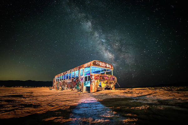 Abandoned Bus Under The Milky Way Poster