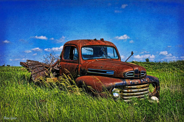 Abandoned Ford Truck In The Prairie Poster