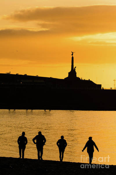 Aberystwyth Sunset Silhouettes Poster