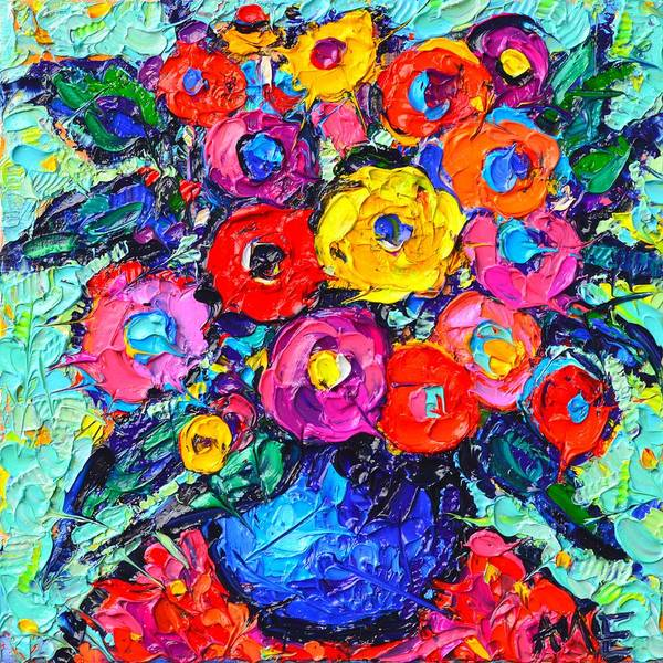 Abstract Colorful Wild Roses Modern Impressionist Palette Knife Oil Painting By Ana Maria Edulescu  Poster