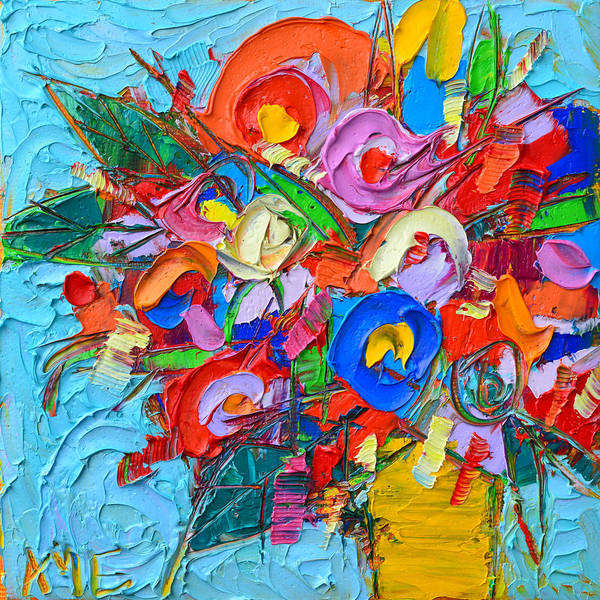 Abstract Flowers Floral Miniature Modern Impressionist Palette Knife Oil Painting Ana Maria Edulescu Poster