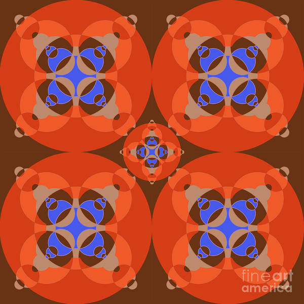 Abstract Mandala Orange, Brown, Blue And Cyan Pattern For Home Decoration Poster