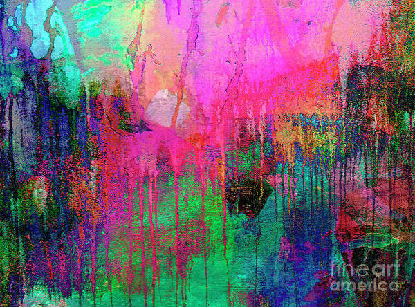Abstract Painting 621 Pink Green Orange Blue Poster