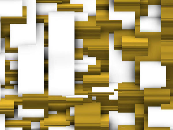 Abstract White And Gold. Poster