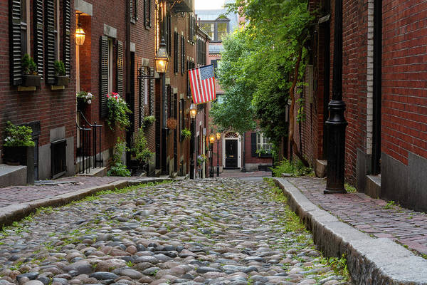 Poster featuring the photograph Acorn St. Boston Ma. by Michael Hubley