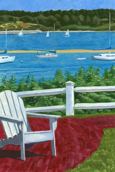 Poster featuring the drawing Adirondack Chair On Cape Cod by Dominic White