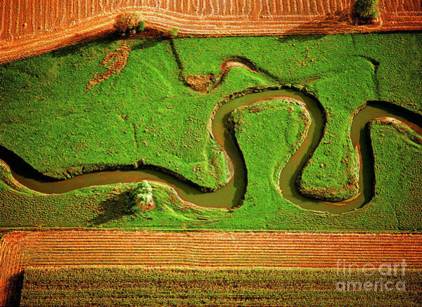 aerial, farm, stream, northern, Illinois, farms, meandering  Poster