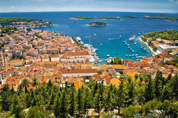 Aerial View Of Hvar Rooftops And Harbor Poster