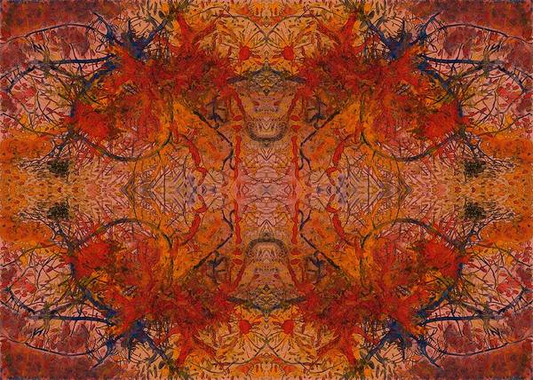 Aflame With Flower Quad Hotwaxed Version Of Acrylic/watercolour Poster