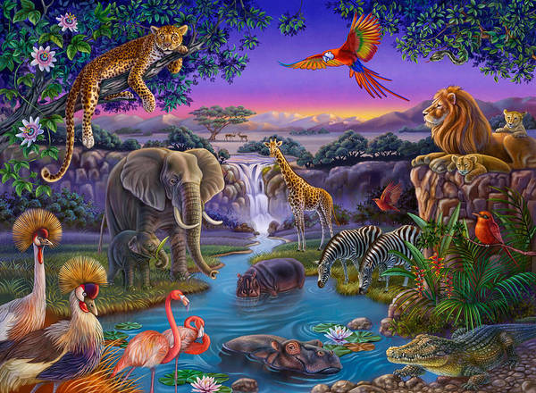 African Animals At The Water Hole Poster