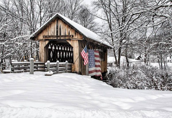 After A Winter Snow Storm Cilleyville Covered Bridge  Poster