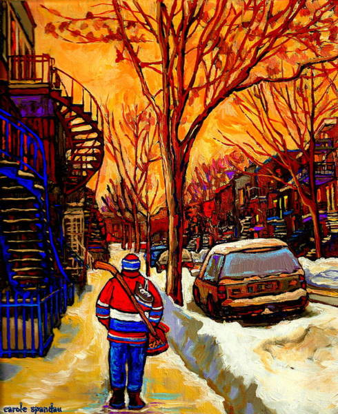 After The Hockey Game A Winter Walk At Sundown Montreal City Scene Painting  By Carole Spandau Poster