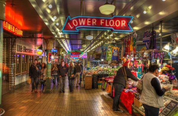Afternoon At The Pike Street Market Seattle Washington Poster