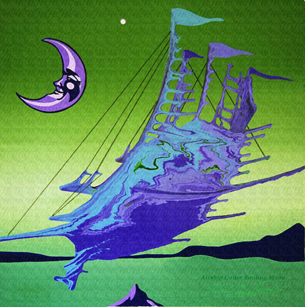 Airship Under A Smiling Moon  Poster