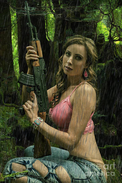 Ak47 In The Rain Poster