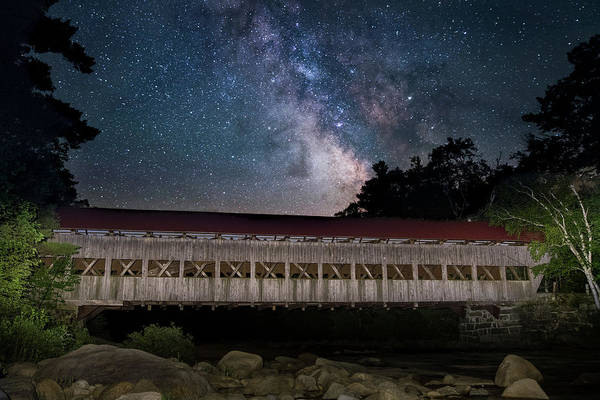 Albany Covered Bridge Under The Milky Way Poster