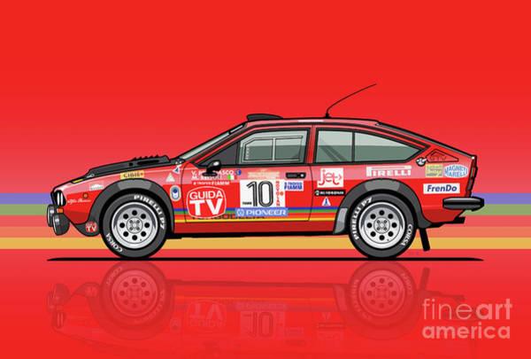 Alfetta Gtv Turbodelta Jolly Club Fia Group 4 1980 Sanremo Rallye Poster