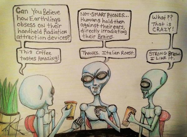 Alien Friends Coffee Talk About Cellular Poster