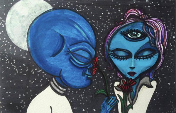 Aliens Love Flowers Poster