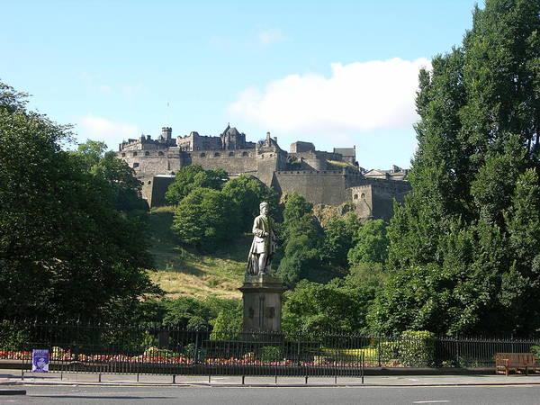Allan Ramsay Statue And Edinburgh Castle Poster