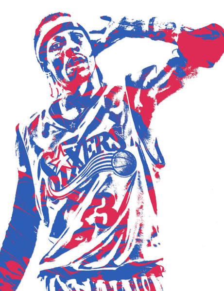 Allen Iverson Philadelphia 76ers Pixel Art 14 Poster