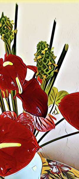Aloha Bouquet Of The Day - Anthuriums In Darkl Red With Green Ginger - A Portion Poster