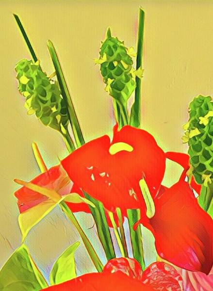 Aloha Bouquet Of The Day -- Red Anthuriums With Green Ginger, A Portion  Poster