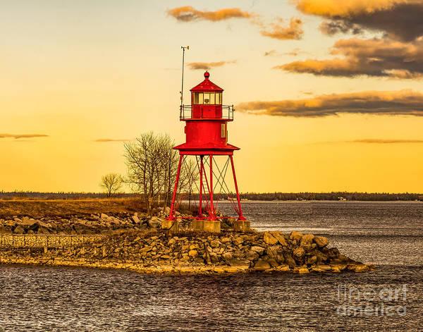 Alpena Harbor Lighthouse  At Sunset Poster
