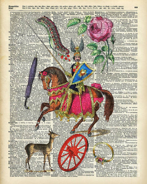 Alphabet Book Illustration Over Old Dictionary Book Page Poster