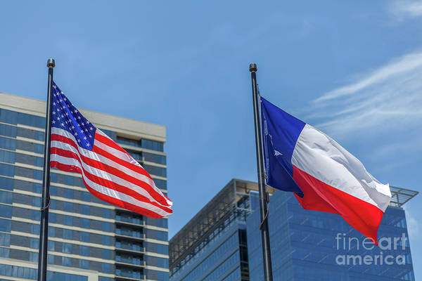 American And Texas Flag On Top Of The Pole Poster